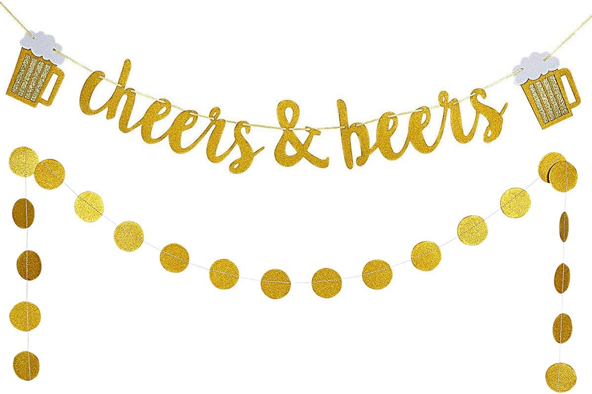 Gold Glittery Cheers  Beers Banner and Gold Glittery Circle Dot