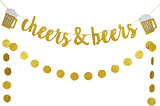 Gold Glittery Cheers & Beers Banner and Gold Glittery Circle Dots Garland (25Pcs Circle Dots),Bachelorette Baby Shower Graduation Wedding Hawaii Birthday Party Decoration Supplies