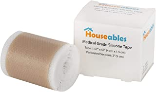 "Houseables Soft Silicone Tape, Scar Treatment Sheets, 1.57"" x 59"", Nude, with 2"" Perforations, Flexible, Medical Grade for Surgery, Keloids, Burns, Sensitive Skin, Wound Protection, Healing Gel Patch"
