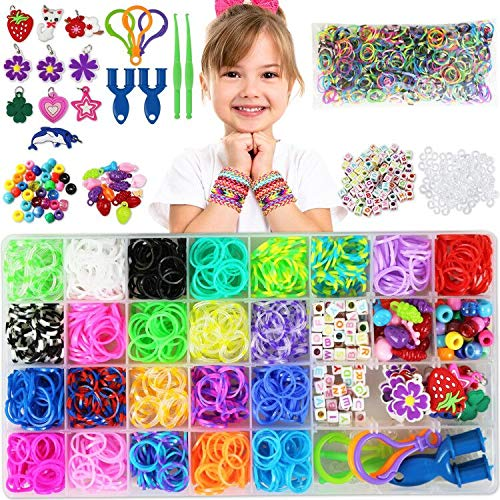 Cokoka Rainbow Rubber Bands Bracelet Making Kit with Loom Bands Storage Container. Great Gifts for Girls and Boys, No Loom Board Included.
