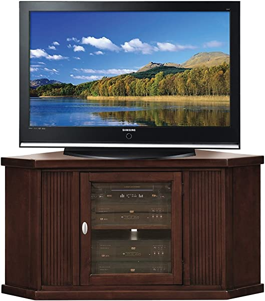 Leick Home Riley Holliday 46 Corner TV Stand Chocolate Cherry Finish