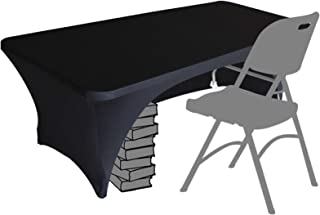 Eurmax Spandex Table Cover 5 ft. Fitted 30+ Colors Polyester Tablecloth Stretch Spandex Table Cover-Table Toppers,5 FT Table Cover Open Back (5Ft, Black)