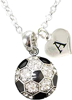 Custom Crystal Soccer Ball Silver Chain Necklace Choose Initial Charm All 26