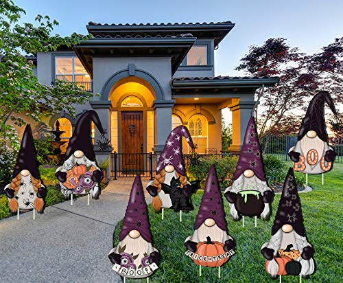 LUCKKYY 8 PCS Halloween Gnome Decorations Yard Signs Stakes Beware Props Outdoor Yard Lawn Yard Decorations Decor Scary…