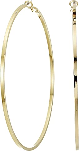 "Large Polished Gold 3.5"" Drop Hoop Pierced Earrings"