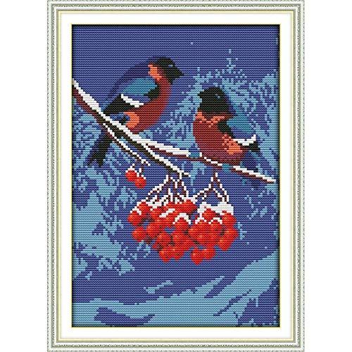 HXYA Handarbeitsstich DIY 11CT Kreuzstichsets f¨¹r Stickgarnituren Snow Migrant Bird Cross-Stitching 40¡Á50cm