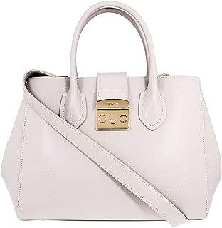 Metropolis Ladies Medium White Perla Leather Tote 978104