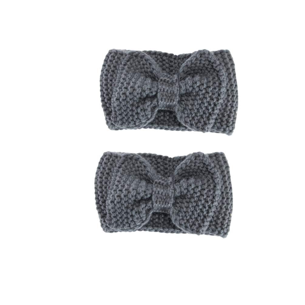 Beaupretty 2PCS Bowknot Ear Warmers Headband Knitted Warm Hair Hoops Winter Cable Knit Headband Headwear (Dark Grey)