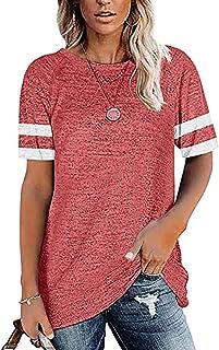 Women's Casual Short Sleeve T-Shirts Color Block Tunic...