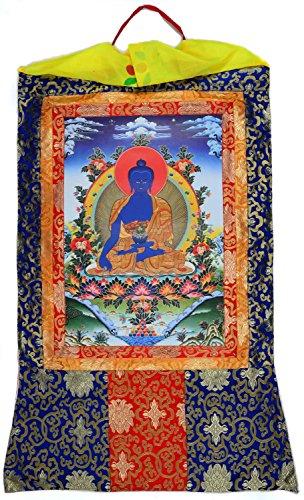Thangka Medizinbuddha Kunstdruck im tibetischen Brokatrahmen 105cm x 63cm