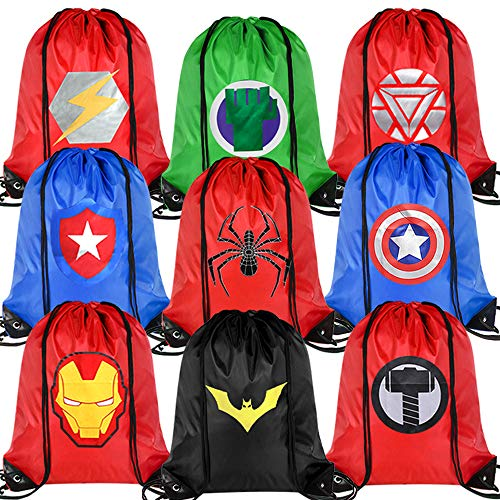 Zaleny Superhero Party Bags Cinch Sack Bags Drawstring Backpacks Hero Theme Party Favors Supplies Pack of 9 for Boys