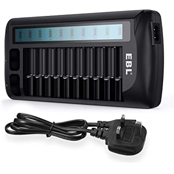 EBL 12 Slots LCD Battery Charger for Ni-MH Ni-CD AA AAA batteries and Ni-MH Ni-CD Li-ion 9V Rechargeable Batteries, Universal Battery Charger
