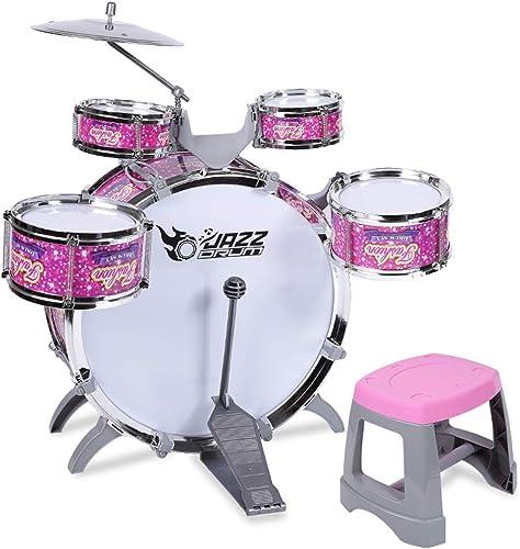 HXGL-Trommel Kinder Drum Musik Lernspielzeug Percussion Early Beat 5 Trommelpulver Verdickung Tympanic Membrane (Farbe   Rosa)