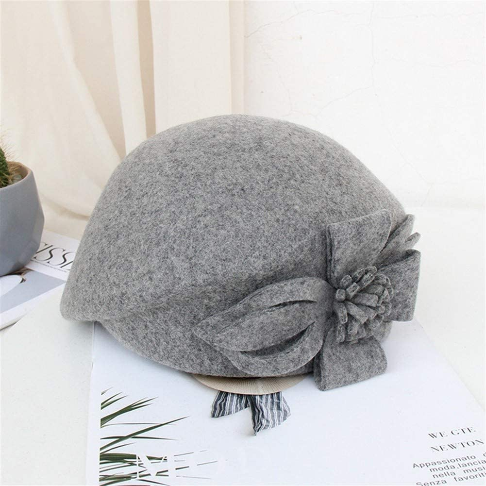 Ms. Beret Hat Autumn and Winter European and Fashion Gaga Temperament Flowers Cap Dome Little Hat JINRONG (Color : Hemp Gray, Size : One Size)