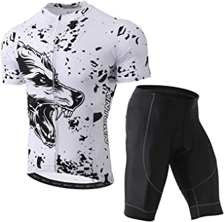 Unkoo Men's Wolf White Cycling Jersey Clothing Bike Wear Short Sleeve Pro Team Bicycle Summer Sleeve Quick Dry Breathale M...