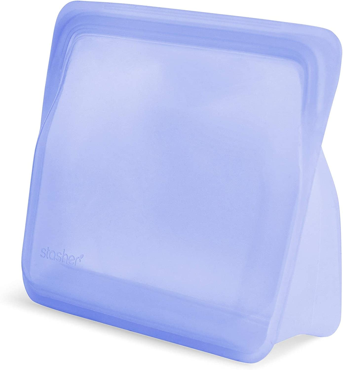 Stasher Re-Usable Food-Grade Platinum Silicone Stand Up Bag for Eating from/Cooking, Freezing and Storing in/Organising/Travelling, 17.80 x 20.30 cm/1.65 Litre/56 Fluid Ounces, Amethyst