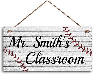 MAIYUAN Teacher Sign, Baseball Personalized Sign, Teacher's Name, Classroom or P.E. Door Sign, Gift for Teacher