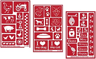 3 Armour Etch Over N Over Reusable Glass Etching Stencils Set   Farmhouse Animal, Pets, Bee Theme   Designs: Rooster, Chicken, Cow, Pig, Duck, Dog, Cat, Paw, Bumblebee, Honeycomb