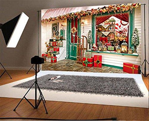 YongFoto 1,5 x 1 m foto achtergrond kerstkerstmis grenen slee Ren Santa Calus Candy Cane buiten fotografie achtergrond fotoshooting portretfoto's party kinderen fotostudio rekwisieten