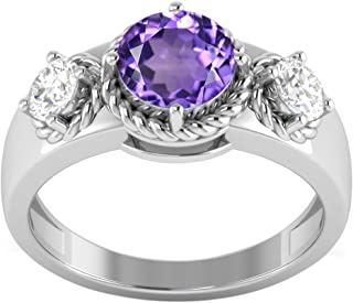 925 Sterling Silver Wide Shank Ring Choose Your Color Natural Gemstone CZ Rings Size 5-12
