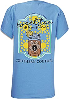 Southern Couture SC Classic Sweet Tea & Sunshine Womens Classic Fit T-Shirt - Carolina Blue