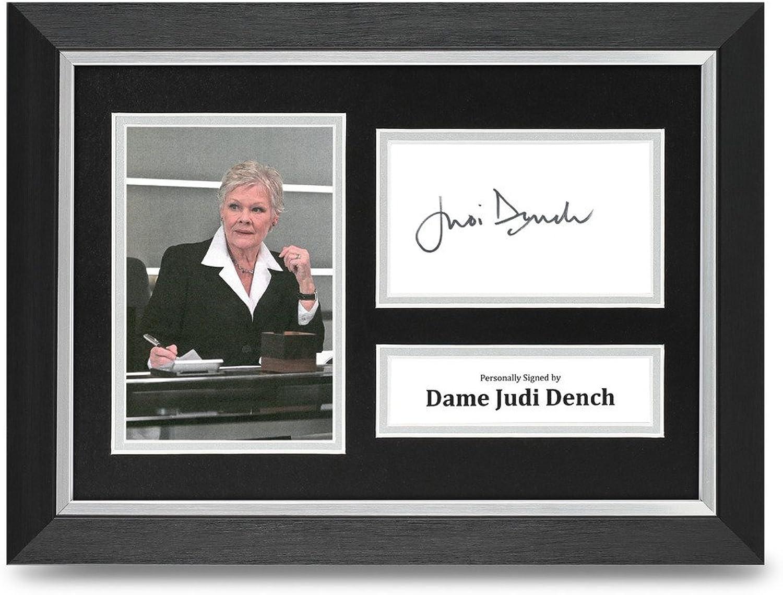 Judi Dench Signed A4 Photo Framed Display James Bond 007 M Memorabilia Autograph