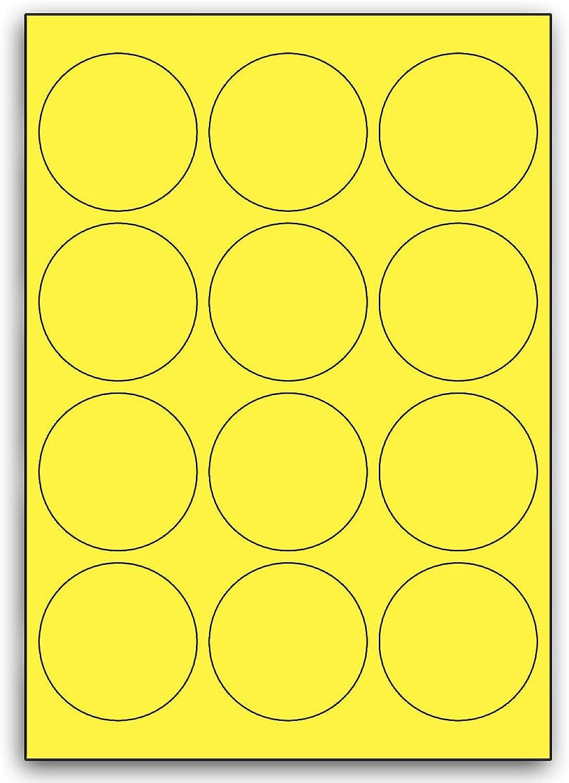 Multi Purpose Gelb Round Labels - 12 Labels Per Sheet - 100 Sheets 63mm Diameter B00BXE63JE  | Starke Hitze- und Abnutzungsbeständigkeit