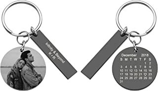 Custom Photo & Calendar Keychain Customized Picture Rectangle Pendant Keyring for Special Day Anniversary Birthday Gift