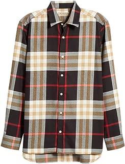 Men's Richard Check L/S Flannel Cotton Sport Shirt in Black