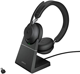 Jabra Evolve2 65 Wireless Headset with Charging Stand – Noise Cancelling Microsoft Teams Certified Stereo Headphones with Long-Lasting Battery – USB-C Bluetooth Adapter – Black