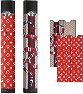 (2 Pack) Juul Skin Wrap Decal Sticker- Red/Brown
