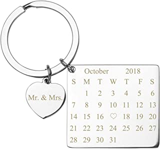Personalized Master Free Engraving Custom Date Calendar Heart Keychain, Custom Date Pendant Key Ring Lovers Couples Valentine`s Day Birthday Anniversary Christmas Special Day Gift