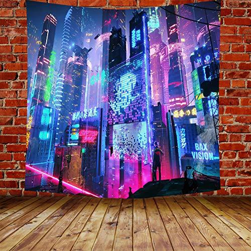 DBLLF Cyber-Punk GTLHDB321 - Tapiz japonés de arte callejero, diseño de paisaje urbano con ciencias ficticias futuristas, tamaño grande, 213 x 228 cm
