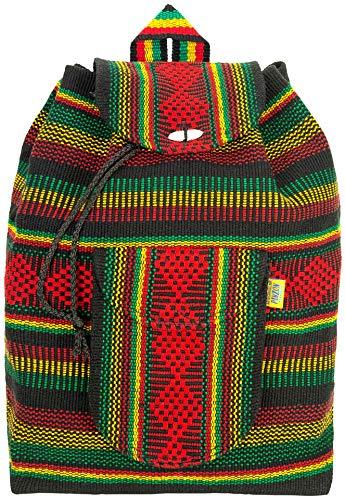 PINZON ESCOLAR Große Hippie Bunte Azteken Kordelzugtasche Gewebter Stoff Canvas Duffle Daypack Rucksack Mexikanischer Boho Strand Schultasche für das University College Faltbar Hergestellt in Mexiko