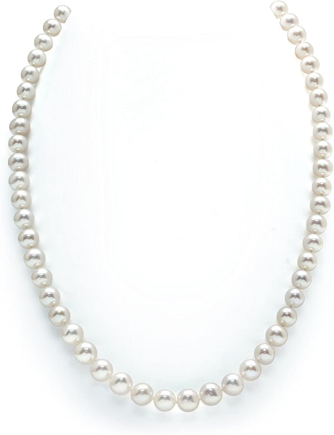 THE PEARL SOURCE 14K Gold AAAA Quality Round White Freshwater Cultured Pearl Necklace for Women in 18