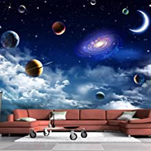 Zbybbby Waterproof Silk Cloth Wallpaper Custom Size Universe Starry Sky 3D Photo Wallpaper for Living Room Bedroom TV Backdrop Ceiling Decor Wall Mural Papel De Parede-140cmx100cm