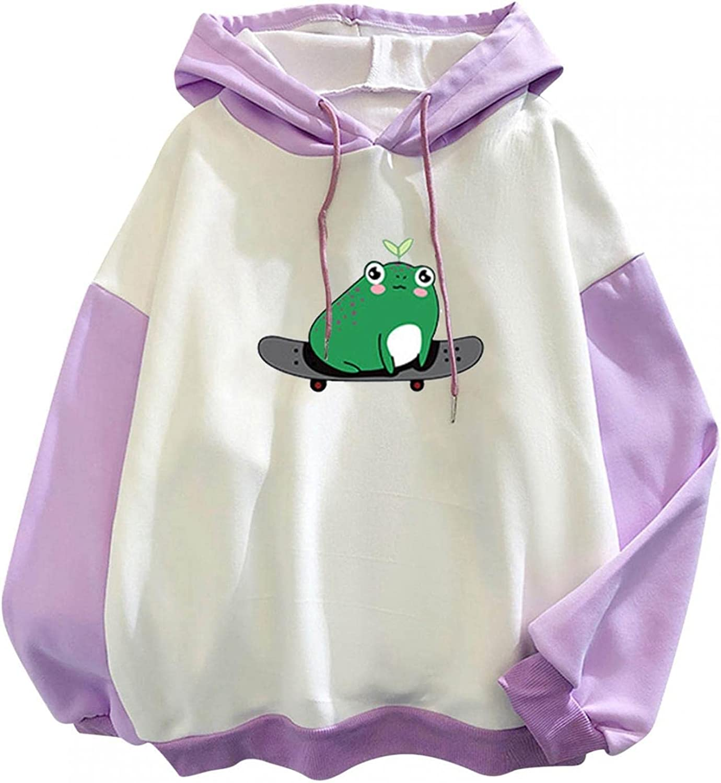 Frog Hoodies for Women Long Sleeve Kawaii Printed Loose Casual Sweatshirt Pullover Tops