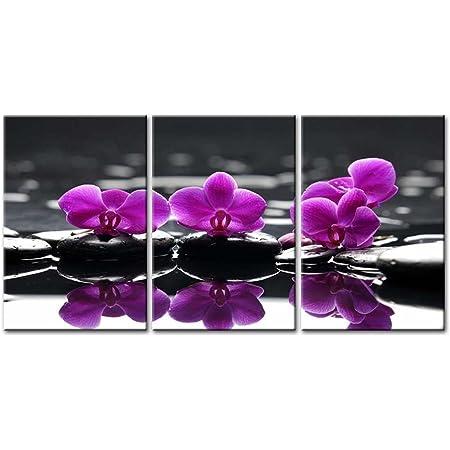 Orchid Flower Wall Art on Black therapy stones Spa wall decor Metal Print Metal HD aluminum multi panel home wall decor Zen Art