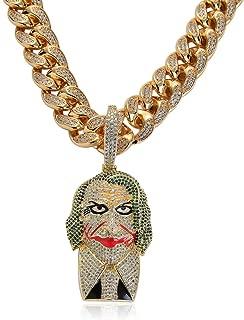 Statement Chunky Batman Suit Joker Chain Micro Pave Cubic Zircon Stone 18k Gold Clown Pendant Necklace Men's Hip hop Jewelry