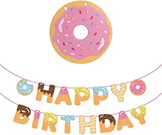 Donut Birthday Banner ,Donut Time Birthday Party Decorations Supplies,Donut Happy Birthday Banner,Donut Party Bunting Garland Background String for Donut Themed Party ,Donut Grown Up Party,Tea Party Kids Birthday Baby Shower Decorations