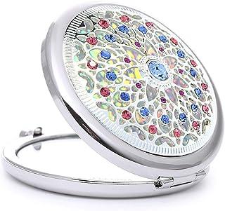 Vanity Mirror Portable Makeup Mirror 180 Degree Folding Shiny High Transparent Crystal Diamond Hand Inlaid Metal HD for Family