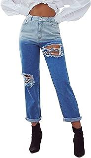 Jeans a contrasto strappato per foro strappato