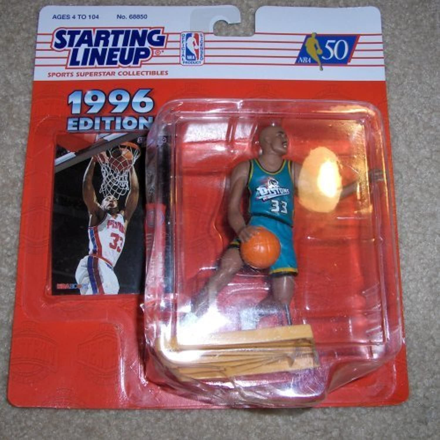 1996 Edition  Kenner  Starting Lineup  NBA 50  Grant Hill  33  Detroit Pistons  (Now Phoenix Suns)  Vintage Sports Figure  w  Trading Card  Limited Edition  Collectible by Kenner