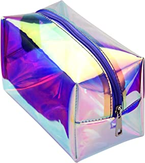 Cambond Holographic Makeup Bag, Clear Cosmetic Bag Organizer Large Capacity Iridescent Makeup Pouch Clear Toiletry Pouch Hologram Clutch Cosmetic Pouch for Women (Holographic Purple)