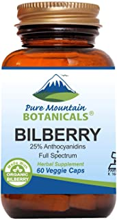 Sponsored Ad - Bilberry Extract Supplement - 60 Vegan Kosher Capsules Now with 300mg Organic Bilberry Leaf & Potent Fruit ...