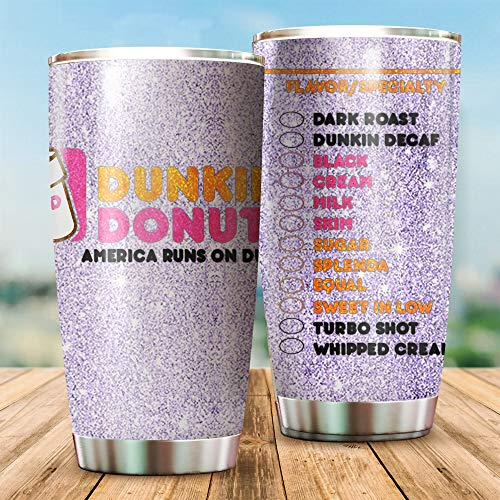 Dunkin Donuts Tumbler 20oz Double-walled Stainless Steel, Double Wall Vacuum Insulated Travel Mug, Durable Insulated Coffee Mug Cup for Hiking, Camping & Traveling