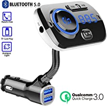LA GUAPA Bluetooth FM Transmitter for Car, Wireless Bluetooth 5.0 Car Radio Adapter Transmitter QC 3.0 Dual USB Car Charger Kits with Hands-Free Calling Music Player TF Card Aux Input Supported