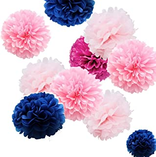 Autupy 20pcs Mixed 8 Inches 10 Inches 14 Inches Tissue Paper Pom Poms Flower Wedding Party Navy Party Baby Room Nursery Decoration (Navy,Hot Pink,Bubblegum Pink & Baby Pink)