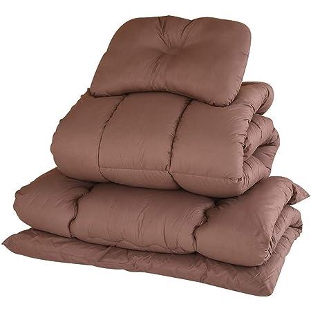 [山善] 布団セット 4点 シングル 抗菌消臭 きめ細やか ピーチスキン加工 (掛け布団 敷き布団 枕 収納ケース) ブラウン YEF-4XSP1(BR)