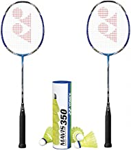 Yonex Voltric 0F Badminton Racket with Mavis 350 Medium Yellow Shuttlecock Combo Set